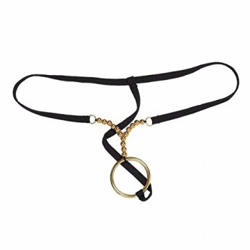 YiZYiF Männer Tanga G String mit Metallic Ring Stretch-Unterwäsche Bikini Slips Shorts T-Back Shorts A - Schwarz One Size - 3