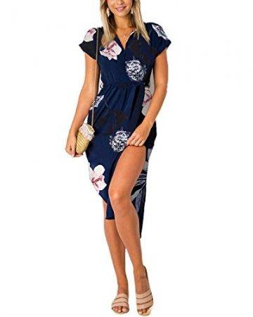 YOINS Damen Sommerkleid Lang V-Ausschnitt Maxikleider Strandkleid Strandmode, Blumenmuster, Gr.- EU 36-38/ Herstellergröße- S - 1