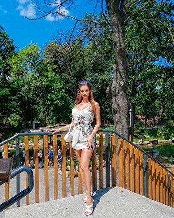 ACHIOOWA Sommerkleid Damen Ärmellos Strandkleid Chiffon V-Ausschnitt Bohemian Casual Sexy Mini Trägerkleid Weiß-707140 XL - 2