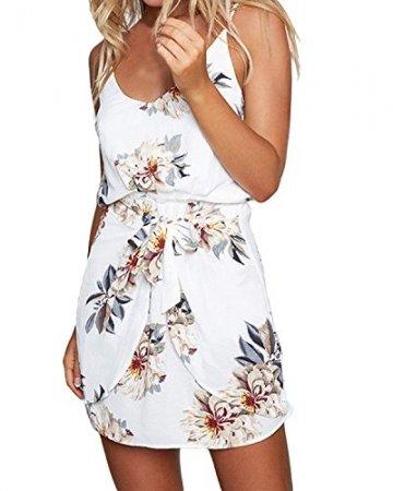 ACHIOOWA Sommerkleid Damen Ärmellos Strandkleid Chiffon V-Ausschnitt Bohemian Casual Sexy Mini Trägerkleid Weiß-707140 XL - 1