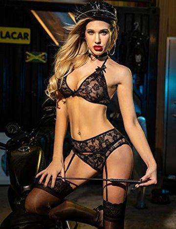 ADOME Dessous-Set Reizwäsche 3-TLG Strapsen Set Lingerie Erotische Unterwäsche Sexy Spitze BH und Slip Strumpfband für Damen - 4
