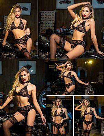 ADOME Dessous-Set Reizwäsche 3-TLG Strapsen Set Lingerie Erotische Unterwäsche Sexy Spitze BH und Slip Strumpfband für Damen - 6