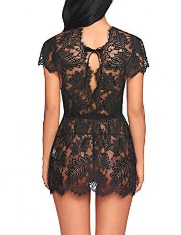 ADOME Reizwäsche Dessous-Sets Lingerie Damen Sexy V-Ausschnitt Nachthemd Spitze Negligee Unterwäsche Set Erotik Sleepwear Kleid - 3