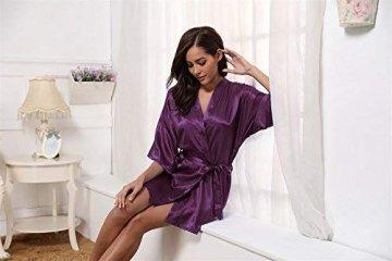 Aibrou Damen Morgenmantel Kimono Satin Kurz Robe Bademantel Nachtwäsche Sleepwear V Ausschnitt mit Gürtel - 2