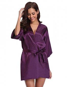 Aibrou Damen Morgenmantel Kimono Satin Kurz Robe Bademantel Nachtwäsche Sleepwear V Ausschnitt mit Gürtel - 1