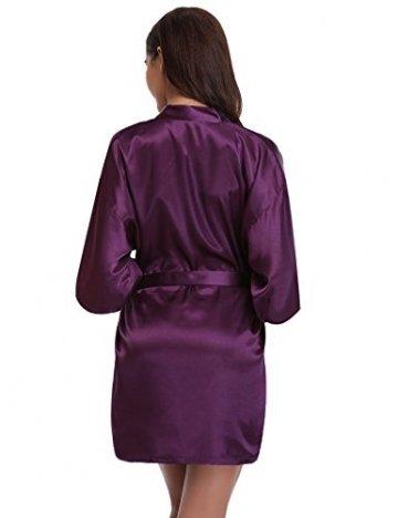 Aibrou Damen Morgenmantel Kimono Satin Kurz Robe Bademantel Nachtwäsche Sleepwear V Ausschnitt mit Gürtel - 4