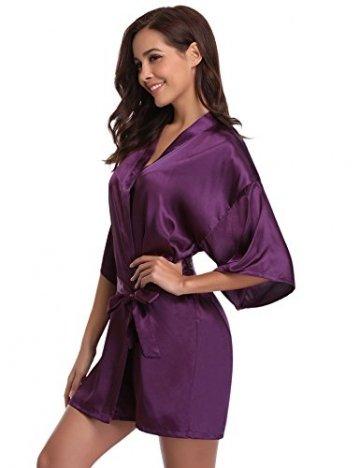 Aibrou Damen Morgenmantel Kimono Satin Kurz Robe Bademantel Nachtwäsche Sleepwear V Ausschnitt mit Gürtel - 5
