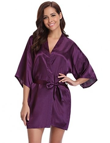 Aibrou Damen Morgenmantel Kimono Satin Kurz Robe Bademantel Nachtwäsche Sleepwear V Ausschnitt mit Gürtel - 6