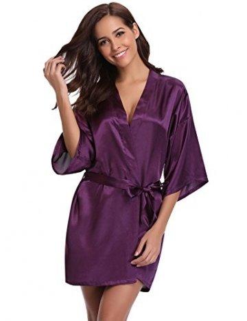 Aibrou Damen Morgenmantel Kimono Satin Kurz Robe Bademantel Nachtwäsche Sleepwear V Ausschnitt mit Gürtel - 7