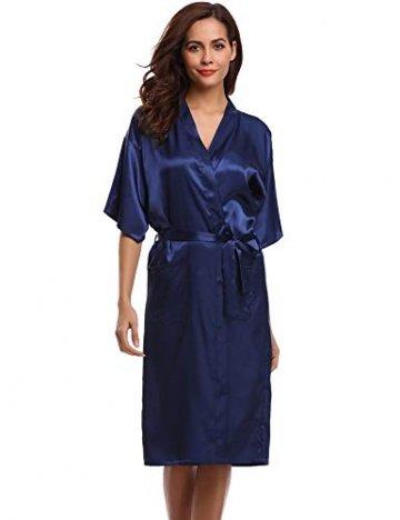 Aibrou Damen Satin Morgenmantel Kimono Lang Bademantel Schlafanzug Negligee Nachthemd Nachtwäsche Unterwäsche V Ausschnitt Mit Gürtel, Gr. XL, Farbe: Dunkelblau - 2