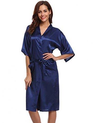 Aibrou Damen Satin Morgenmantel Kimono Lang Bademantel Schlafanzug Negligee Nachthemd Nachtwäsche Unterwäsche V Ausschnitt Mit Gürtel, Gr. XL, Farbe: Dunkelblau - 1