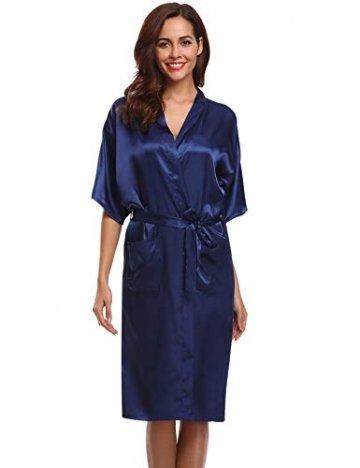 Aibrou Damen Satin Morgenmantel Kimono Lang Bademantel Schlafanzug Negligee Nachthemd Nachtwäsche Unterwäsche V Ausschnitt Mit Gürtel, Gr. XL, Farbe: Dunkelblau - 5