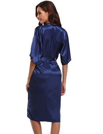 Aibrou Damen Satin Morgenmantel Kimono Lang Bademantel Schlafanzug Negligee Nachthemd Nachtwäsche Unterwäsche V Ausschnitt Mit Gürtel, Gr. XL, Farbe: Dunkelblau - 6