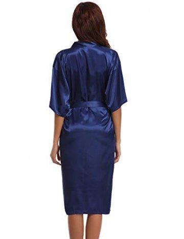 Aibrou Damen Satin Morgenmantel Kimono Lang Bademantel Schlafanzug Negligee Nachthemd Nachtwäsche Unterwäsche V Ausschnitt Mit Gürtel, Gr. XL, Farbe: Dunkelblau - 7