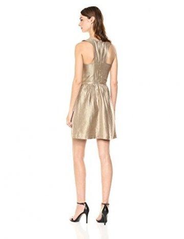 Armani Exchange A|X Damen Metallic Cut-Out Back Dress Legeres Abendkleid, Gold, 44 - 2