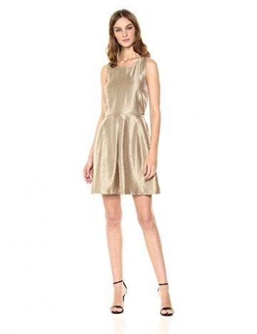 Armani Exchange A|X Damen Metallic Cut-Out Back Dress Legeres Abendkleid, Gold, 44 - 1
