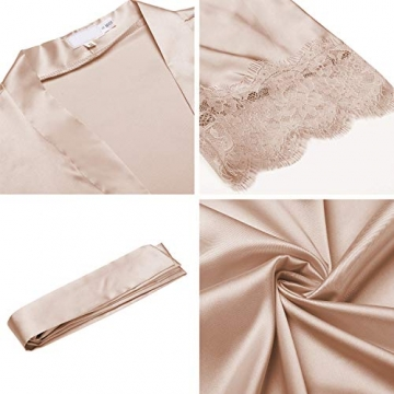 BeautyUU Damen Morgenmantel Kimono Bademantel Satin Nachthemd Nachtwäsche Schlafanzüge Mit Blumenspitze, Champagner, L - 2
