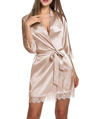 BeautyUU Damen Morgenmantel Kimono Bademantel Satin Nachthemd Nachtwäsche Schlafanzüge Mit Blumenspitze, Champagner, L - 1