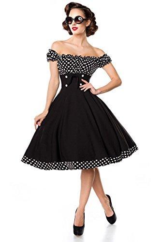 Belsira Schulterfreies Swing-Kleid Frauen Mittellanges Kleid schwarz/weiß S - 1