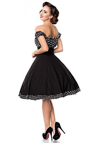 Belsira Schulterfreies Swing-Kleid Frauen Mittellanges Kleid schwarz/weiß S - 2