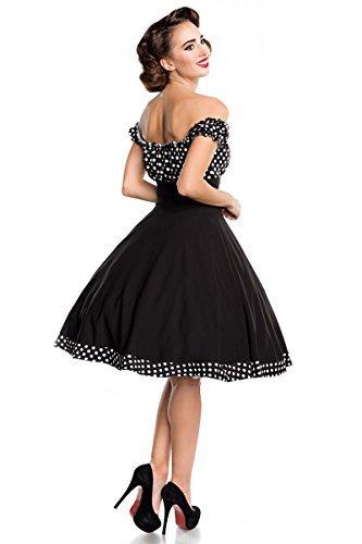 Belsira Schulterfreies Swing-Kleid Frauen Mittellanges Kleid schwarz/weiß S - 3
