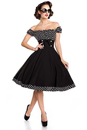 Belsira Schulterfreies Swing-Kleid Frauen Mittellanges Kleid schwarz/weiß S - 4