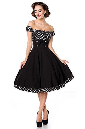 Belsira Schulterfreies Swing-Kleid Frauen Mittellanges Kleid schwarz/weiß S - 5