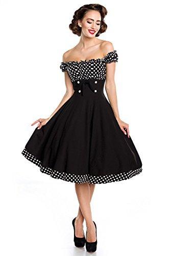 Belsira Schulterfreies Swing-Kleid Frauen Mittellanges Kleid schwarz/weiß S - 6