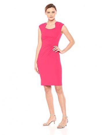 Calvin Klein Damen Cap-Sleeve Side-Ruched Sheath Dress Kleid, Lipstick, 34 - 1