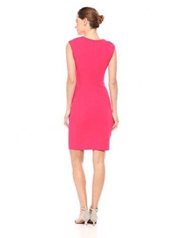 Calvin Klein Damen Cap-Sleeve Side-Ruched Sheath Dress Kleid, Lipstick, 34 - 2