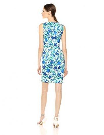 Calvin Klein Damen Round Neck Sleeveless Sheath with Starburst Detail Kleid, Atlantis Multi, 38 - 4