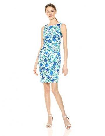 Calvin Klein Damen Round Neck Sleeveless Sheath with Starburst Detail Kleid, Atlantis Multi, 38 - 1
