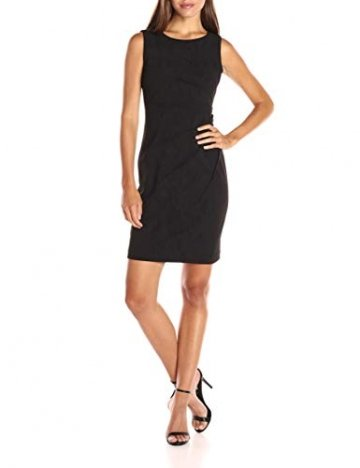 Calvin Klein Damen Round Neck Sleeveless Sheath with Starburst Detail Kleid, Schwarz, 18, 42 - 4
