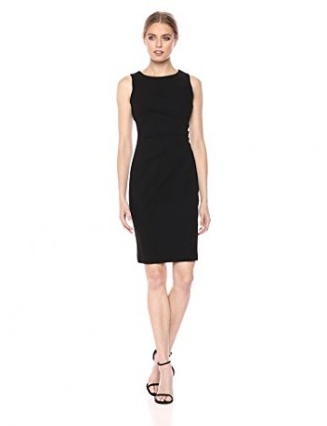 Calvin Klein Damen Round Neck Sleeveless Sheath with Starburst Detail Kleid, Schwarz, 18, 42 - 1