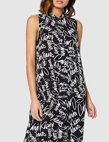 Calvin Klein Jeans Damen New DECLA 2 SL Shirt Dress Kleid, Schwarz (Scribble Logo/CK Black 901), 34 (Herstellergröße: XS) - 3