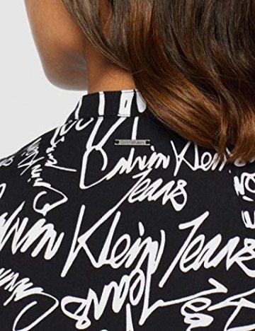 Calvin Klein Jeans Damen New DECLA 2 SL Shirt Dress Kleid, Schwarz (Scribble Logo/CK Black 901), 34 (Herstellergröße: XS) - 4