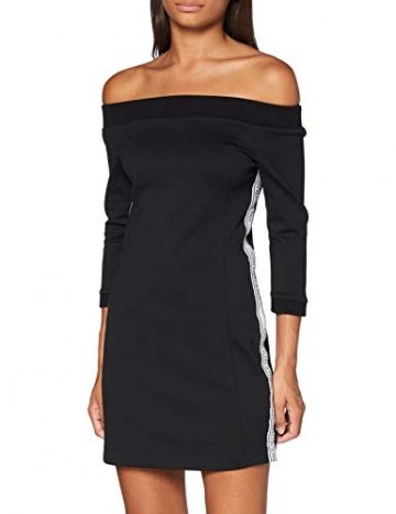 Calvin Klein Jeans Damen Off The Shoulder Milano Dress Kleid, Schwarz, M - 1
