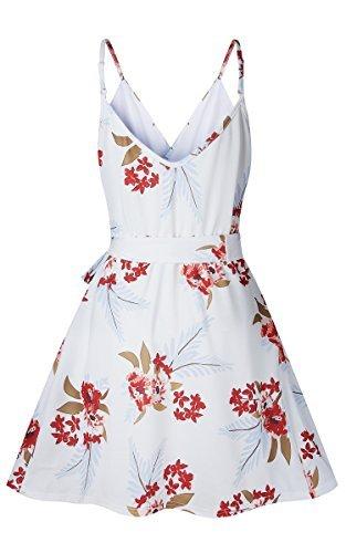 ECOWISH Damen Kleid Sommerkleid V-Ausschnitt Ärmellos Blumendruck Spaghetti Strap Mini Swing Strandkleid Mit Gürtel Weiß S - 3