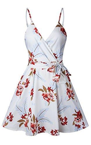 ECOWISH Damen Kleid Sommerkleid V-Ausschnitt Ärmellos Blumendruck Spaghetti Strap Mini Swing Strandkleid Mit Gürtel Weiß S - 4