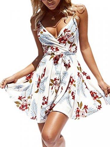 ECOWISH Damen Kleid Sommerkleid V-Ausschnitt Ärmellos Blumendruck Spaghetti Strap Mini Swing Strandkleid Mit Gürtel Weiß S - 1