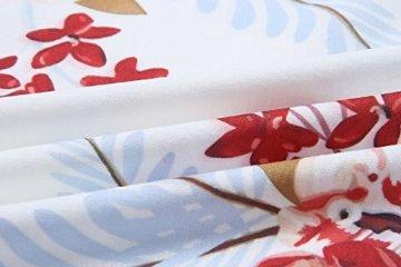 ECOWISH Damen Kleid Sommerkleid V-Ausschnitt Ärmellos Blumendruck Spaghetti Strap Mini Swing Strandkleid Mit Gürtel Weiß S - 6