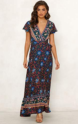 ECOWISH Damen Kleider Boho Sommerkleid V-Ausschnitt Maxikleid Kurzarm Strandkleid Lang mit Schlitz Schwarz Blau XL - 2