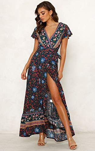 ECOWISH Damen Kleider Boho Sommerkleid V-Ausschnitt Maxikleid Kurzarm Strandkleid Lang mit Schlitz Schwarz Blau XL - 3