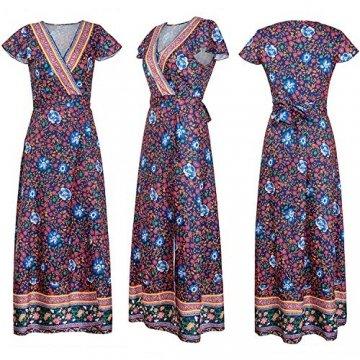 ECOWISH Damen Kleider Boho Sommerkleid V-Ausschnitt Maxikleid Kurzarm Strandkleid Lang mit Schlitz Schwarz Blau XL - 5