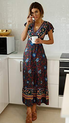 ECOWISH Damen Kleider Boho Sommerkleid V-Ausschnitt Maxikleid Kurzarm Strandkleid Lang mit Schlitz Schwarz Blau XL - 6