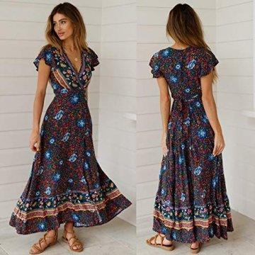 ECOWISH Damen Kleider Boho Sommerkleid V-Ausschnitt Maxikleid Kurzarm Strandkleid Lang mit Schlitz Schwarz Blau XL - 7
