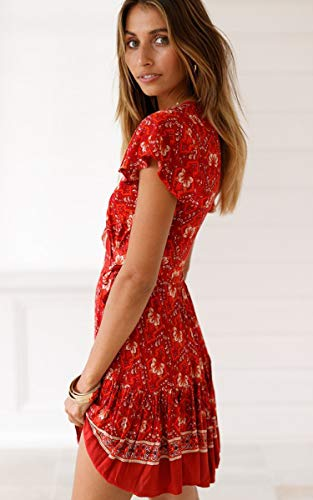 ECOWISH Damen Kleider Boho Vintage Sommerkleid V-Ausschnitt A-Linie Minikleid Swing Strandkleid mit Gürtel 045 Rot XL - 4
