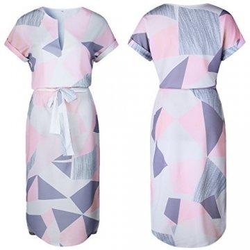 ECOWISH Sommerkleider Damen Kurzarm V-Ausschnitt Strand Blumen Kleider Abendkleid Knielang Rosa S - 2