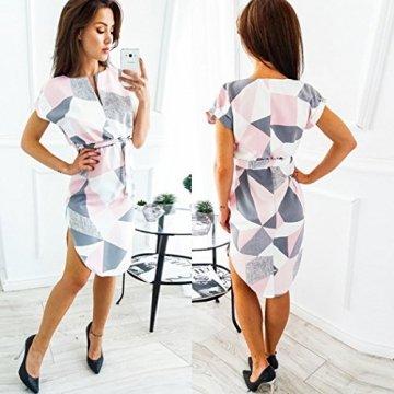 ECOWISH Sommerkleider Damen Kurzarm V-Ausschnitt Strand Blumen Kleider Abendkleid Knielang Rosa S - 3