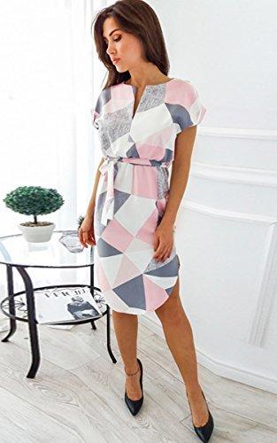 ECOWISH Sommerkleider Damen Kurzarm V-Ausschnitt Strand Blumen Kleider Abendkleid Knielang Rosa S - 5